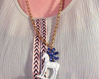 "Blue ""H"" is for horse necklace"