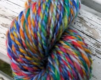 Blue Tropics, handspun superwash washable wool yarn, 48 g/108 yds