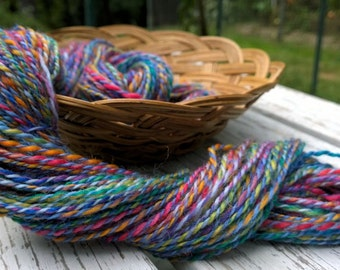 SALE! Blue Tropics, handspun superwash washable wool yarn, 50 g/110 yds