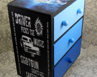 Custom Supernatural Blue and Black Stash Jewelry Box