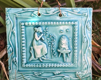 In the Garden with Bees Tile in Turquoise