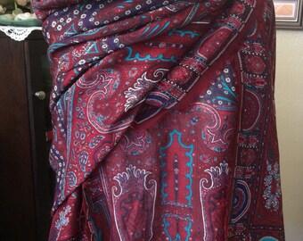 Vintage 70s France cote d'azure J.  Tiktiner wool moroccan boho wool shirt/scarf set excellent conditin   Sz 42/10