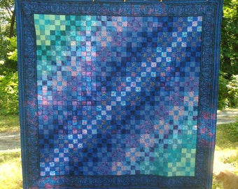 Full Sized quilt in blues and teals