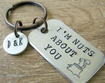 I'm Nuts About You Keychain, anniversary gift, valentine's day gift, couples keychain, i love you keychain, optional initial disc, see pics