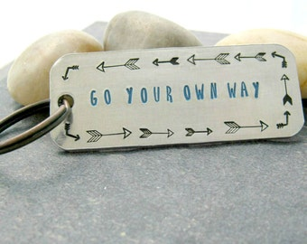 Go Your Own Way Keychain, hand stamped design, free spirit, your journey, empowerment, inspirational keychain, motivational keyring K-ALB