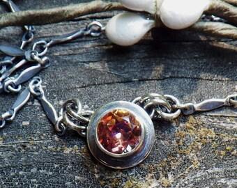 Anastasia Topaz Necklace - 6mm mystic topaz Anastasia topaz Oxidized Sterling Silver Necklace gemstone necklace