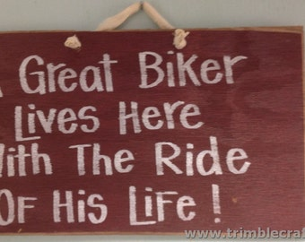 Great BIKER lives here with ride of life sign wood handmade motorcycle gift funny