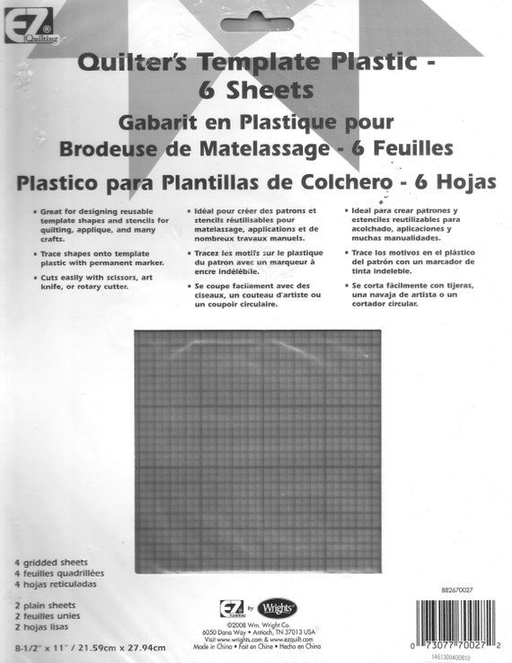 6 clear plastic grid template sheets for quilting for Plastic grid sheets crafts