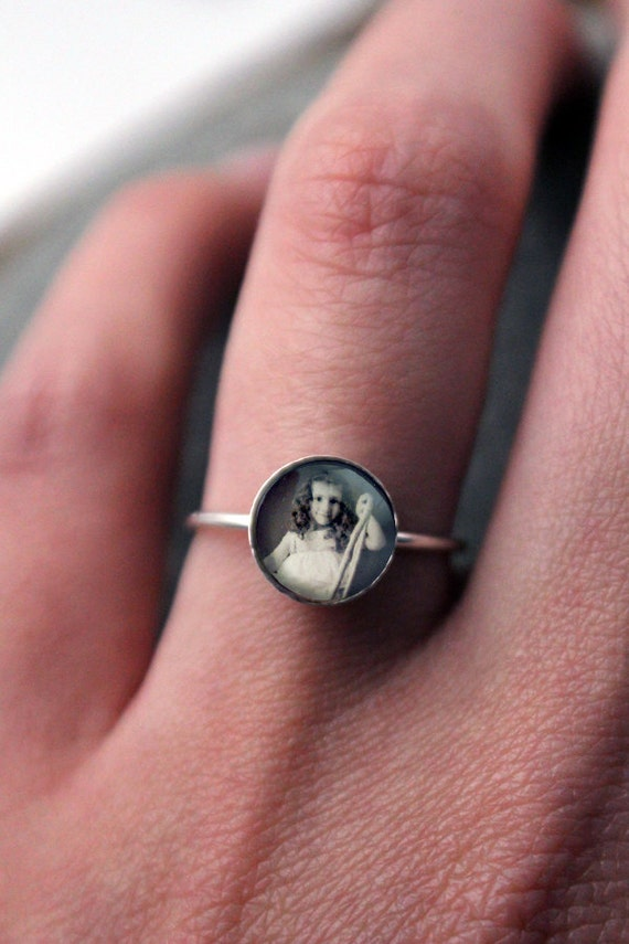 Custom Silver Photo Ring - Sterling Silver, 8mm, Custom Sized Made to Order - Great Gift for Mom, Bridesmaids, Wedding, Etc