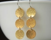 Brass Disc Earrings, Brass Circle Earrings, Gold Brass Dangle, Geometric Statment Jewelry, Bohemian Jewelry, Modern Brass Jewelry, Gift