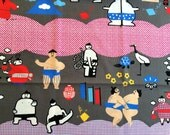 Japanese Fabric Sumo Wrestlers in Gray 2 Yard  100% Cotton  110 x 200 cm With Mount Fuji Flowers And More  (F78-P13)