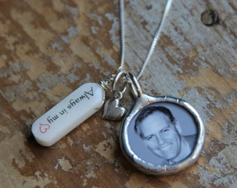 Name tag birthstone photo necklace with sterling heart