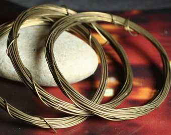 Hand antiqued oxidized solid brass wire 22g thick, 10 ft (item ID HMABW22G)