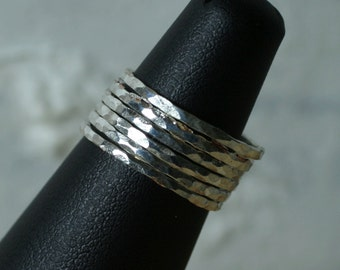 Hand hammered silver plated midi ring, knuckle ring, stack rings, 2 pcs (item ID SRSP)