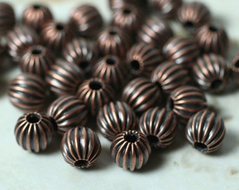 Antique copper corrugated round 6mm, 36 pcs (item ID YWHM00020AC)