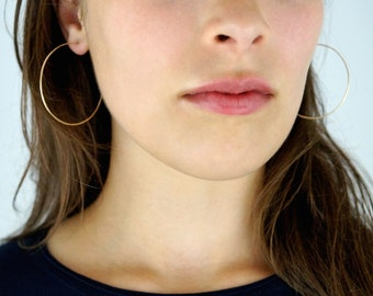 Hammered Hoops in 14K Gold fill, large gold hoop earrings, hammered hoop earrings, thin gold hoop earrings, multiple sizes, choose a size
