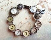 Custom Order for twhisson - Vintage Typewriter Key & Button Bracelet