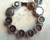 BUTTON, BUTTON - Vintage Typewriter Key & Button Bracelet