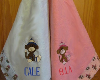 Big Baby Blanket, Embroidered Sock Monkey, 36 inches, Flannel,  Pink or Blue , Girl or Boy, Personalized, baby shower gift, nursery bedding