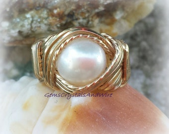 Gold Ring, WireWrapped Ring, Pearl Ring, Ladies Ring, Statement Ring,  Gift Idea