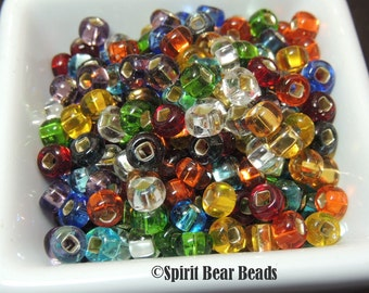 Rainbow Transparent Silver Lined Mix multicolor Czech Glass seed bead mix size 2 Large