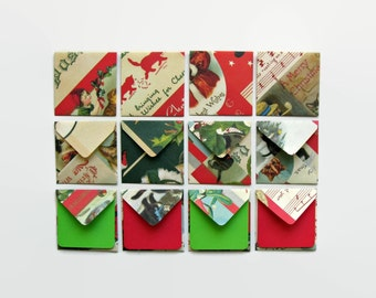 Christmas Gift Tags, Christmas, Cats, Stationery Set, Small Stationery, Square Envelopes, Christmas Stationery, Red Green, Blank Note Cards