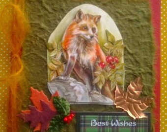 Fox in Autumn Birthday or Greetings Card -Best Wishes