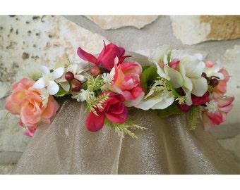 floral head wreath bridal flower crown ringlet halo headwreath boho renaissance faerie fairy costume women's fashion