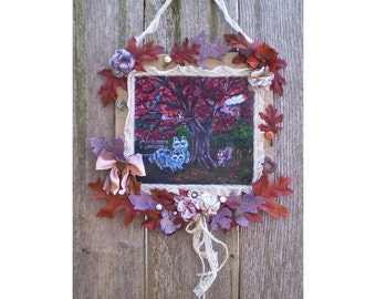 Fall collage assemblage mixed media original art print Autumn shabby fall chic collage mix media assemblage wall hanging home decor raccoons