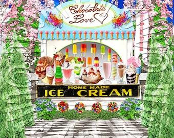 American Girl Doll Samantha's Ice Cream Parlor Background Scene american girl doll house accessories furniture