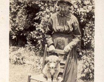 vintage photo 1918 Granny Holds Chair w Collie Puppy Dog