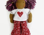 14 to 15 inch Waldorf doll clothes, red and white snowflake top and ruffle pants