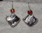Dalmatian gemstone and amber wire wrapped earrings