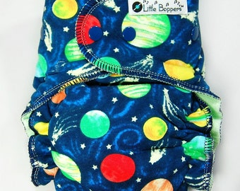 Cloth Diaper or Cover Made to Order - Planets - You Pick Size and Style - Custom Cloth Nappy or Wrap  - Celestial - Galaxy - Milky Way