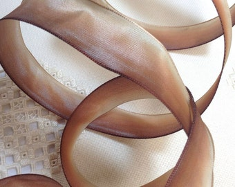 3 yds French Wired Ribbon Acetate Caramel Cream Ombre 1 inch wide