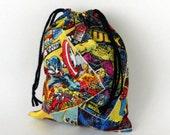 Marvel Comics, Super Heros drawstring bag, back to school reusable fabric bag, Bart, Spiderman, Hulk, Wolverine, Captain America fabric bag