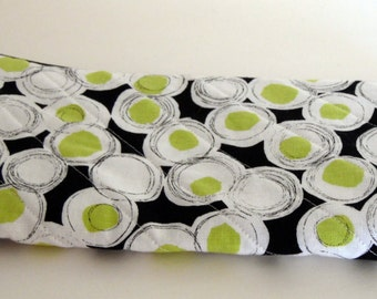 Lime Green Dotted Cosmetic Bag, Lime Black & White Dotted Make up Bag, Pencil Case, Washable Purse Organizer