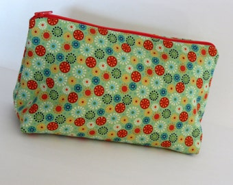 Green, Red & Blue Floral Zippered Pouch, Green Dots Cosmetic Bag, Green Floral Cosmetic Bag, Purse Organizer