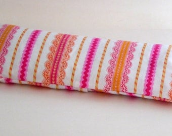 Pink and Orange Ribbon and Lace Aromatherapy Eye Pillow, Lavender Scented Eye Pillow with Removable Cover, Mother's Day Gift. Handmade