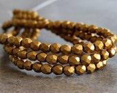 3mm Matte Metallic Antique Gold Czech Glass  Faceted Round Bead : 50 pc Gold Round 3mm Beads