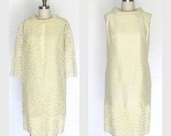 1960s Dress  60s  Yellow Silk Sheath Dress  Matching Lace Duster Sz M