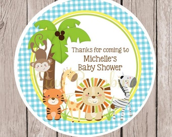 Jungle Animals Baby Shower Favor Tags or Stickers / Blue Gingham Jungle Birthday Party Favor Tags / Set of 12