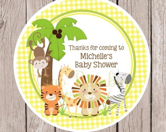 Jungle Animals Baby Shower Favor Tags or Stickers / Yellow Gingham Jungle Birthday Party Favor Tags / Gender Neutral / Set of 12