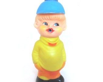 Vintage Squeaky Doll - Rubber Boy with cap Made in Japan