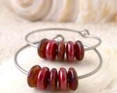 Glass Bead Hoop Earrings - Hypoallergenic Titanium Hoop Earrings - Pure Titanium -  Titanium Hoop Earrings - Red Glass Beaded Earrings