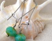Turquoise Green Bead Earrings - Hypoallergenic Earrings - Glass Bead Earrings - Pure Titanium Earrings - Hypoallergenic Dangle Earrings