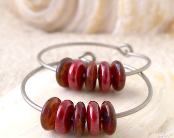 Gift For Her - Hoop Earrings - Hypoallergenic Titanium Hoop Earrings - Pure Titanium -  Titanium Hoop Earrings - Red Glass Beaded Earrings