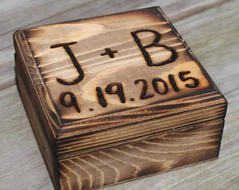 Rustic Wedding Ring Box Ring Bearer Custom Country Wood burned Personalized Engraved Woodland Barn weddings Wooden box for rings