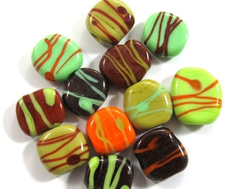 Lampwork Beads, Lampwork beads set, Lampwork Glass Beads,  squeezed beads, green, brown, orange (12) SRA