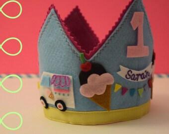 Ice cream birthday crown, Birthday crowns